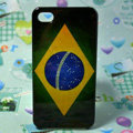 Retro Brazil flag Hard Back Cases Covers for iPhone 4G/4GS