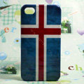 Retro The Republic of Iceland flag Hard Back Cases Covers for iPhone 4G/4GS - Blue