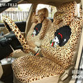 Cheapest Universal Velvet Girls Leopard print Car Seat Cover 18pcs Sets - Brown