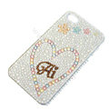 Bling S-warovski crystal cases Heart diamond covers for iPhone 6 - White