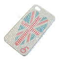 Bling S-warovski crystal cases Britain flag diamond covers for iPhone 6 Plus - White