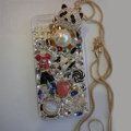 Bling S-warovski crystal cases Panda pearl diamond cover for iPhone 6 Plus - White