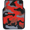 Personalised Camo Universal Auto Carpet Waterproof Car Floor Mats Rubber 5pcs Sets - Red