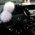 Genuine Wool With Rabbit Ball Fur Powder Crystal Auto Steering Wheel Covers 14 inch 36CM - Black