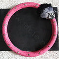 Unique Diamond Feather Flowers Car Steering Wheel Covers Genuine Leather 15 inch 38CM - Rose