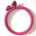 Cute Bowknot Suedette Universal Car Steering Wheels Covers 15 Inch - Rose