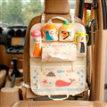 Cute Animals Fold Multi-function Car Seat Back Hanging Pocket Thermal Insulation Storage Bag - Beige