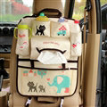Cute Cat Fold Multi-function Car Seat Back Hanging Pocket Thermal Insulation Storage Bag - Beige