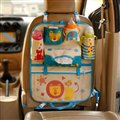 Cute Lion Fold Multi-function Car Seat Back Hanging Pocket Thermal Insulation Storage Bag - Blue