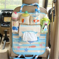 Cute Ocean Fold Multi-function Car Seat Back Hanging Pocket Thermal Insulation Storage Bag - Blue