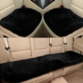 Top Quality Pure Wool Universal Car Seat Cushion Sheepskin Fur One Piece Pads 3pcs Set - Black