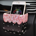 Beautiful 1pcs Crystal Car Storage Bucket Leather Storage Box Diamond Auto Storage Bag - Pink