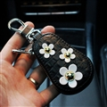 Beautiful Cute Daisy Universal Genuine Leather Auto Key Bags Key Chain - Black