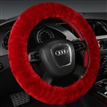 Classical Winter Wool Car Steering-wheel Cover Soft Fur Steering Wheel Cover Sheepskin - Red