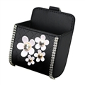 Daisy 1pcs Crystal Auto Storage Bucket Leather Storage Box Diamond Auto Storage Bag - Black