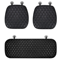 Diamond Studded Crystal Leather Car Front + Back Seat Cushion Woman Universal Pads 3pcs - Black