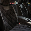 Fashion Rivets Winter Plush Universal Car Auto Interior Cushion 1pc Front Seats Covers - Black