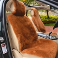 Luxury Australia Wool Car Seat Cushion Winter 100% Genuine Fur Sheepskin 1pc Front Cover - Brown