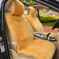 Luxury Australia Wool Car Seat Cushion Winter 100% Genuine Fur Sheepskin 1pc Front Cover - Yellow