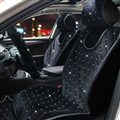 Luxury Full Crystal Diamond Car Universal Winter Plush Auto Cushion Interior Front Seat Covers - Black