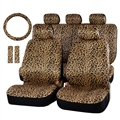 Luxury Leopard Print Car Seat Cover Universal Fit Seat Belt Pads Steering Wheel Cover Protector - Gold
