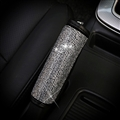 Pretty Women Rhinestone Plush Auto Seat Handbreak Cover 1pcs - Silver