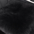 Round Long Wool Car Sheepskin Fur Chair Cushion Winter Plush Mats Home Sofa Office Pads 1pcs - Black