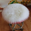 Round Long Wool Car Sheepskin Fur Chair Cushion Winter Plush Mats Home Sofa Office Pads 1pcs - White