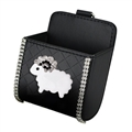Sheep 1pcs Crystal Car Storage Bucket Leather Storage Box Diamond Auto Storage Bag - Black