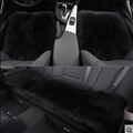 Top Quality Long Wool Universal Car Seat Cushion Sheepskin Fur One Piece Pads 3pcs Set - Black
