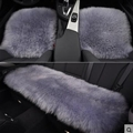 Top Quality Long Wool Universal Car Seat Cushion Sheepskin Fur One Piece Pads 3pcs Set - Grey