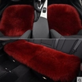 Top Quality Long Wool Universal Car Seat Cushion Sheepskin Fur One Piece Pads 3pcs Set - Red
