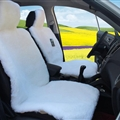 Universal Synthetic Sheepskin Car Seat Cover Sheep Wool Auto Velvet Cushion 3pcs Sets - White