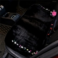 Winter Crystal Plush Car Back Row Seat Cushion Woman Camellia Rear Long Pads - Black Rose