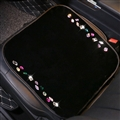 Winter Crystal Plush Car Front Seat Cushion Woman Universal Bling Pads 1pcs - Black