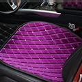 Winter Diamond Plush Car Front Seat Cushion Woman Universal Automobile Pads 1pcs - Purple