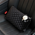 Winter Diamond Plush Car Waist Pillow Woman Universal Camellia Cushions 1pcs - Black White