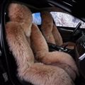 Winter Long Wool Auto Cushion Universal Genuine Sheepskin Car Seat Covers 1Piece Front Cover - Camel