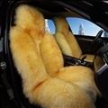 Winter Long Wool Auto Cushion Universal Genuine Sheepskin Car Seat Covers 1Piece Front Cover - Yellow