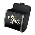 Zebra 1pcs Crystal Car Storage Bucket Leather Storage Box Diamond Auto Storage Bag - Black