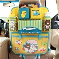 Bear Bunny Canvas Multi-function Seat Back Hanging Pocket Thermal Insulation Storage Bag for Kid - Yellow