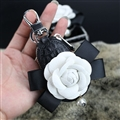 Beautiful Cute White Camellia Universal Pearl Leather Auto Key Bags Key Chain - Black