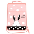Bunny Waterproof Kids Car Anti-Kick Pad Seat Back Storage Bag Touchable Screen Organizer Protector - Pink