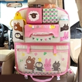 Cute Animals Fold Multi-function Car Seat Back Hanging Pocket Thermal Insulation Storage Bag for Kid - Pink