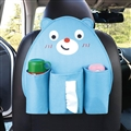Cute Bear Multi-function Car Seat Back Hanging Pocket Thermal Insulation Storage Bag for Kid - Blue