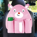 Cute Bear Multi-function Car Seat Back Hanging Pocket Thermal Insulation Storage Bag for Kid - Pink