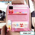 Cute Cat Multi-function Auto Seat Back Hanging Pocket Thermal Insulation Storage Bag - Pink