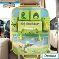 Cute Dinosaur Fold Multi-function Car Seat Back Hanging Pocket Thermal Insulation Storage Bag for Kid - Green