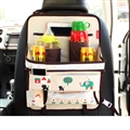 Cute Elephant Multi-function Car Seat Back Hanging Pocket Thermal Insulation Storage Bag for Kid - Beige Brown