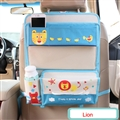 Cute Lion Fold Multi-function Car Seat Back Hanging Pocket Thermal Insulation Storage Bag - White Blue